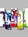 Hang-ζωγραφισμένα ελαιογραφία Ζωγραφισμένα στο χέρι - Αφηρημένο Άνθρωποι Σύγχρονο Μοντέρνα Περιλαμβάνει εσωτερικό πλαίσιο / Πεντάπτυχα / Επενδυμένο καμβά