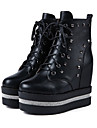Γυναικεία Παπούτσια PU Φθινόπωρο & Χειμώνας Μοντέρνες μπότες / Μποτίνι Αθλητικά Παπούτσια Τακούνι Σφήνα Στρογγυλή Μύτη Μποτίνια Τεχνητό διαμάντι / Καρφιά / Αστραφτερό Γκλίτερ Λευκό / Μαύρο