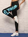 Per donna Pantaloni da yoga - Rosso, Blu Gli sport Lettere & Numeri Calze / Collant / Cosciali / Leggings Corsa, Fitness, Allenarsi Abbigliamento sportivo Traspirante, Morbido, Ultra sottile