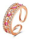 Για Ζευγάρια Κρυστάλλινο Cubic Zirconia Κομψό Δαχτυλίδια Ζευγαριού Δαχτυλίδι αρραβώνων Ανοίξτε τον δακτύλιο Κράμα Κύμα κυρίες Γλυκός Μοντέρνα Κομψό Μοδάτο Δαχτυλίδι Κοσμήματα