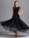Fuer den Ballsaal Kleider Damen Leistung Senior-Emulation Seide / Tuell / Eis-Seide Drapiert Kurzarm Hoch Kleid