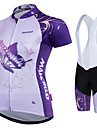 Malciklo Women\'s Cycling Jersey with Shorts - White Butterfly Plus Size Bike Clothing Suit Sports Polyester Coolmax® Butterfly Mountain Bike MTB Road Bike Cycling Clothing Apparel / Quick Dry