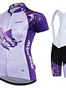 Malciklo Kadın\'s Şortlu Bisiklet Forması - Beyaz Kelebek Büyük Bedenler Bisiklet Giysi Takımları Spor Dalları Polyester Coolmax® Kelebek Dağ Bisikletçiliği Yol Bisikletçiliği Giyim / Hızlı Kuruma