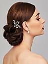 Perle Coiffure / Pince à cheveux / Bâton de cheveux avec Fleur 1pc Mariage / Occasion spéciale Casque / Épingle à cheveux