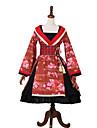 클래식 / 전통적 롤리타 구미시 로리타 프린세스 로리타 여성용 드레스 파티 코스튬 가면 기모노 코스프레 레드 레이스 바느질 벨 긴 소매 Midi 의상