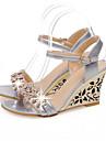Damen Komfort Schuhe Kunststoff Sommer Sandalen Keilabsatz Weiss / Silber / Blau