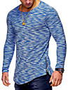 Rund hals Tynd Herre - Ensfarvet Bomuld, Patchwork Basale T-shirt Rød XL / Langærmet