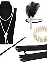 The Great Gatsby 1920s Roaring Twenties Roaring 20s Costume Women\'s Flapper Headband Head Jewelry Vintage Bracelet Pearl Necklace Black / Golden+Black / Black / White Vintage Cosplay Party Prom