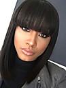 Syntetiska peruker Rak Kardashian Stil Bob-frisyr Utan lock Peruk Svart Svart Syntetiskt hår 12 tum Dam Dam / Afro-amerikansk peruk / Med Bangs Svart Peruk Medium längd