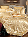 copripiumino set di lusso polyster jacquard 4 pezzi set di biancheria da letto / 400/4 pezzi (1 copripiumino, 1 foglio piatto, 2 shams) regina