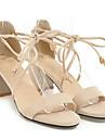 Mulheres Sapatos Confortaveis Camurca Verao Sandalias Salto Robusto Preto / Bege / Rosa claro