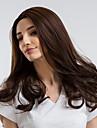 Synthetische Peruecken Locken Braun Mittelteil Braun Synthetische Haare 20 Zoll Damen Natuerlicher Haaransatz Braun Peruecke Mittlerer Laenge Kappenlos MAYSU