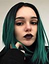 Синтетические кружевные передние парики Естественные прямые Зеленый Боковая часть Черный / зеленый Искусственные волосы 12-14 дюймовый Жен. с детскими волосами / Косплей / Для вечеринок Зеленый Парик