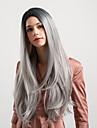 Synthetische Peruecken Natuerlich gerade Kardashian Stil Seitenteil Kappenlos Peruecke Dunkelgrau Schwarzgrau Synthetische Haare 26 Zoll Damen Neuankoemmling / Gefaerbte Haarspitzen (Ombré Hair / Ombre