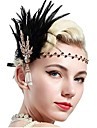 The Great Gatsby Vintage 1920s Costume Women\'s Flapper Headband Head Jewelry Black / Golden Vintage Cosplay Party Prom Sleeveless / Feather