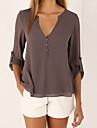 Mulheres Blusa - Para Noite Casual Solido Decote em V Profundo Solto Cafe XXXL / Verao