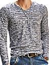 V-hals Tynd Herre - Ensfarvet Trykt mønster Basale T-shirt Brun XL / Langærmet / Forår / Efterår