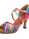 Kadın\'s PU Latin Dans Ayakkabıları Toka Sandaletler / Spor Ayakkabı İnce Topuk Kişiselleştirilmiş Gökküşağı / Performans / Deri