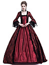 Queen Cosplay Duchess Vintage Inspired Medieval Ball Gown Costume Women\'s Dress Costume Purple / Red / Ink Blue Vintage Cosplay Party Prom Long Sleeve Lace Sleeves Maxi