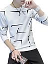 Pánské - Geometrický Tričko Kulatý Bílá XL / Dlouhý rukáv