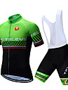 TELEYI Men\'s Short Sleeve Cycling Jersey with Bib Shorts - White Black Stripes Bike Clothing Suit Breathable Quick Dry Sports Polyester Stripes Mountain Bike MTB Road Bike Cycling Clothing Apparel