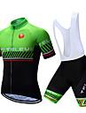 TELEYI Erkek Kısa Kollu Askılı Şortlu Bisiklet Forması - Beyaz Siyah Çizgi Bisiklet Giysi Takımları Nefes Alabilir Hızlı Kuruma Spor Dalları Polyester Çizgi Dağ Bisikletçiliği Yol Bisikletçiliği Giyim