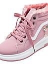 Γυναικεία PU Χειμώνας Καθημερινό Αθλητικά Παπούτσια Επίπεδο Τακούνι Στρογγυλή Μύτη Μαύρο / Ροζ