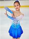 Figure Skating Dress Women\'s Girls\' Ice Skating Dress Pale Blue Halo Dyeing Spandex High Elasticity Competition Skating Wear Handmade Jeweled Rhinestone Long Sleeve Ice Skating Figure Skating