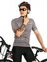 FirtySnow Heren Korte mouw Wielrenshirt - Zwart / Wit Fietsen Shirt Ademend Sneldrogend Sport Polyester Bergracen Wegwielrennen Kleding / Rekbaar / SBS ritsen
