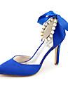 Γυναικεία Σατέν Ανοιξη καλοκαίρι Γλυκός Γαμήλια παπούτσια Τακούνι Στιλέτο Μυτερή Μύτη Πέρλες / Κορδέλα Μπλε / Ανοικτό Καφέ / Κρύσταλλο / Γάμου / Πάρτι & Βραδινή Έξοδος
