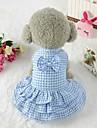 Chiens Robe Vetements pour Chien Tartan Noeud papillon Bleu Rose Terylene Costume Pour Corgi Beagle Bouledogue Printemps Ete Femme Style Mignon Style classique