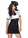 Жен. Полиция Короткая юбочка Пол Косплэй Kостюмы Сплошной цвет Рубашка Платье Шапки