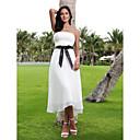 A-Line Strapless Tea Length Chiffon Custom Wedding Dresses with Sash / Ribbon by LAN TING BRIDE®