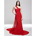 Mermaid / Trumpet One Shoulder Sweep / Brush Train Chiffon Formal Evening / Military Ball Dress with Side Draping by TS Couture®