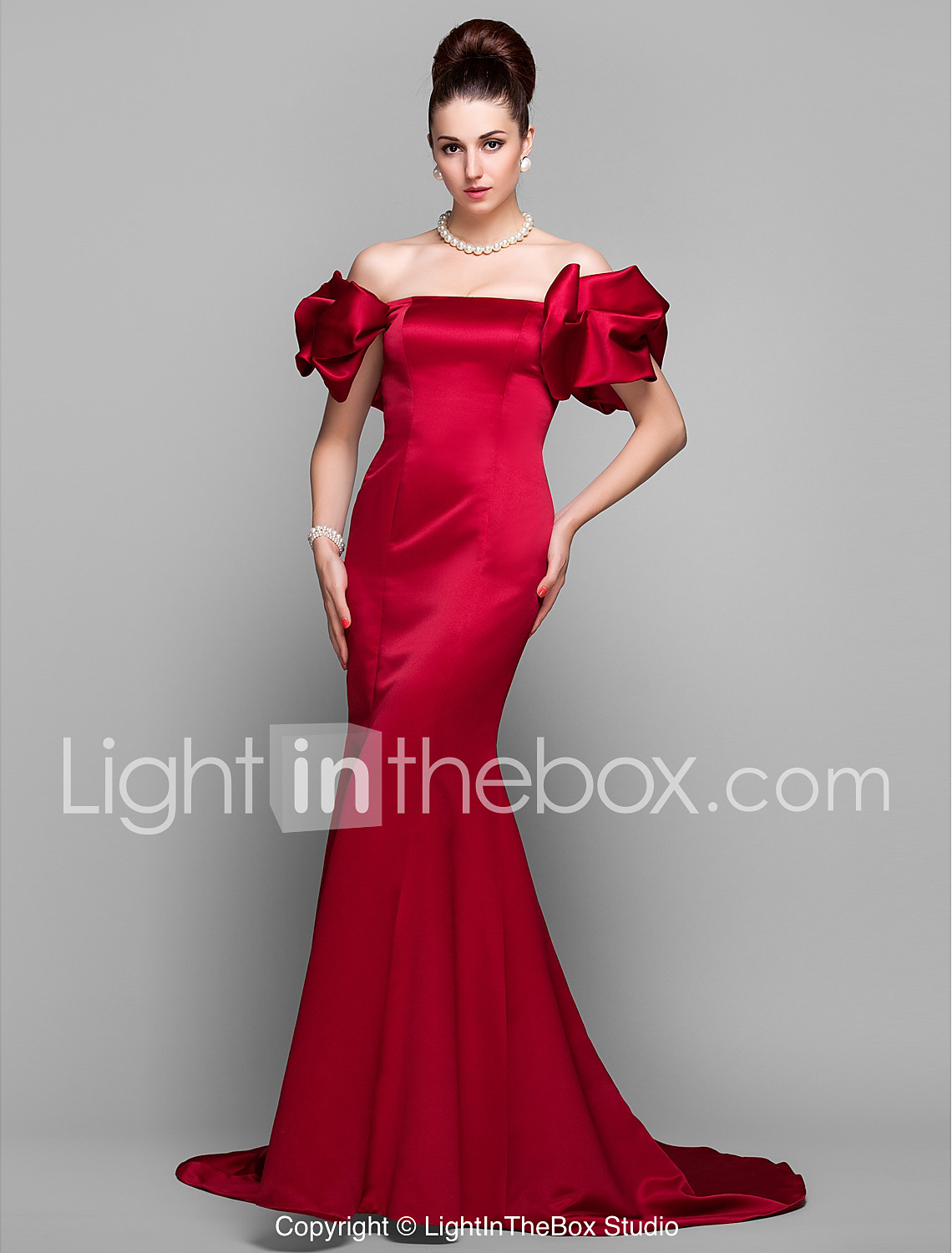 Mermaid   Trumpet Off Shoulder Court Train Satin Formal Evening Dress with  Pleats by TS Couture b7d5ab53ba3f